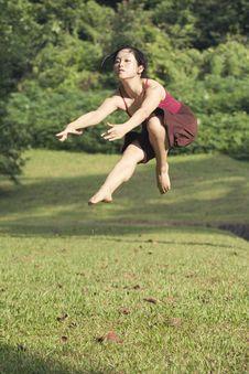 Portrait Of Asian Ballet Dancer Outdoor Stock Image