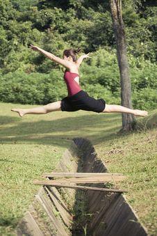 Portrait Of Asian Ballet Dancer Outdoor Stock Photos