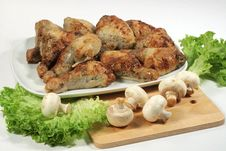 Free Chicken Legs With Mushrooms Stock Photography - 9617812