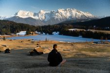 Free Hiker On Alpine Lake, Bavaria Stock Image - 96113751