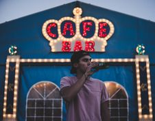 Free Man Drinking Outside Bar Royalty Free Stock Images - 96113809