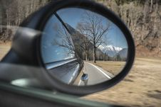 Free Mountains Reflecting In Rear View Mirror Stock Image - 96113831
