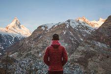 Free Traveler Looking At Mountain Stock Image - 96114101