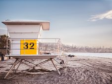 Free Lifeguard Tower On Beach Stock Photography - 96114122