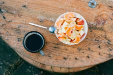 Free Coffee And Fruit Salad Stock Images - 96114144