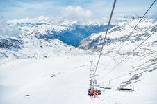 Free Ski Lift On Mountain Stock Image - 96114271