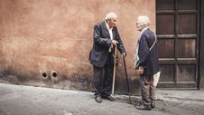 Free Elder Couple Outdoors With Canes Stock Images - 96114704