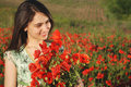 Free Girl On A Red Poppies Field Royalty Free Stock Photography - 9620517