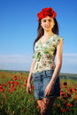 Free Girl On A Red Poppies Field Stock Images - 9620774