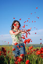 Free Girl On A Red Poppies Field Stock Images - 9621114