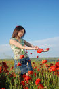 Free Girl On A Red Poppies Field Stock Photo - 9622600