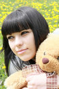 Free Brunette With Plush Teddy Bear Royalty Free Stock Images - 9628549