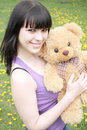 Free Brunette With Plush Teddy Bear Stock Photography - 9628652
