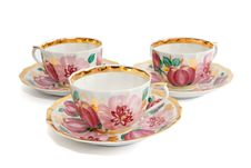 Free Three Tea Cups With Saucers Royalty Free Stock Image - 9620506