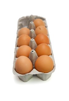 Free Nine Brown Eggs In Box Isolated Stock Images - 9620524