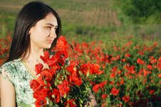 Free Girl On A Red Poppies Field Stock Photography - 9620562