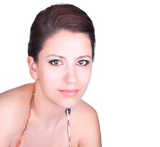 Attractive Young Brunette With Dark Eyes  Posing Royalty Free Stock Images