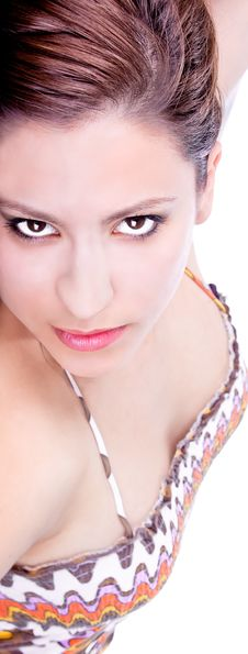 Attractive Young Brunette With Dark Eyes Stock Photo