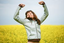 Free Happy Girl In Flower Field Stock Images - 9620664