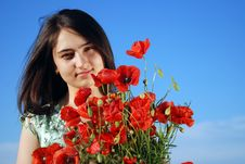 Free Girl On A Red Poppies Field Royalty Free Stock Photos - 9621188