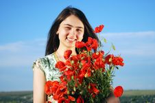Free Girl On A Red Poppies Field Stock Photography - 9621222