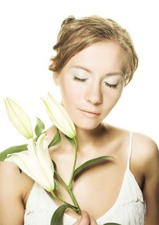 Free Woman Whith White Lilly Royalty Free Stock Photography - 9621837