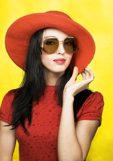 Vintage Woman In Sunglasses And Red Hat Royalty Free Stock Photography