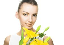 Free Young Woman With Yellow Flowers Royalty Free Stock Image - 9621906