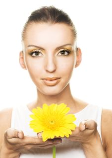 Free Young Woman With Yellow Flowers Stock Photo - 9621910