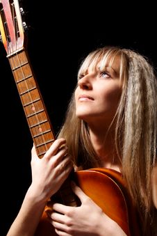 Free Girl With A Guitar Royalty Free Stock Image - 9623646