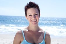 Free Beautiful Brunette Smiles Stock Image - 9624381