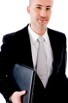 Free Businessman With His Laptop Stock Image - 9626011