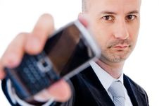 Free Businessman Holding Cellphone Royalty Free Stock Image - 9626086
