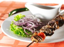 Hot Meat Dish - Shashlik Royalty Free Stock Photography