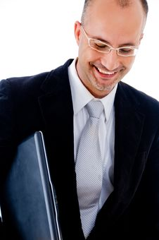 Free Happy Businessman With Laptop Royalty Free Stock Photography - 9627237