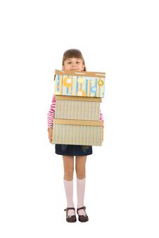 Free The Girl With Boxes Stock Image - 9627311