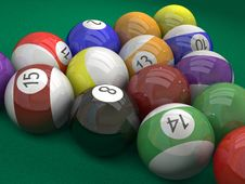 Pool  Billiard Ball  On Green Royalty Free Stock Photos