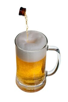 Free Glass Of Beer With Bottle Neck Royalty Free Stock Images - 9628159