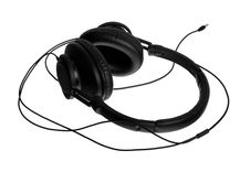 Headphones On Their Side With The Full Cord Royalty Free Stock Images