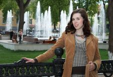 Free Young Woman Near Fountain Stock Image - 9628661