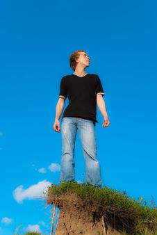 Free Man On A Hill Stock Photos - 9629653