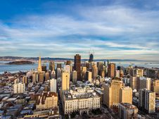 Free High Angle View Of Cityscape Against Cloudy Sky Royalty Free Stock Photos - 96215228