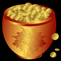 Free Metal Pot With Gold Coins (vector) Stock Image - 9636831