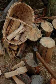 Fire Wood And Axe Stock Image