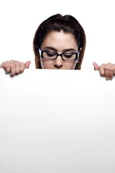 Free Young Girl Hiding Behind White Board Royalty Free Stock Photos - 9631328