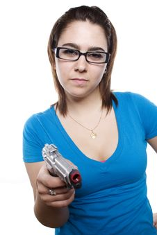 Free Young Girl With Attitude And Holding Gun Royalty Free Stock Photo - 9631345