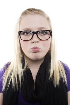 Free Young Blonde Girl With Glasses Stock Photos - 9631363