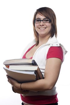 Young Happy Girl Holding Books Royalty Free Stock Photo