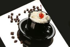Free Coffee, Cream And Cherry Stock Photos - 9632283