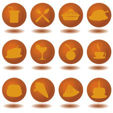 Brown Food Icons Stock Photos